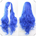 Blue Cosplay Wig Synthetic Sexy Party Hair Women's Long Wavy Cosplay Anime Full Wigs Blue Cosplay Wig