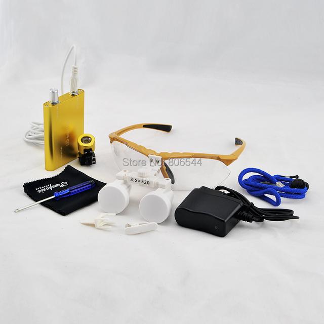 Lupa Lupas 3.5X Dental Médico Cirúrgica Lupas Binoculares Vidro Óptico Lupa + LED Head Light Lamp OURO U9
