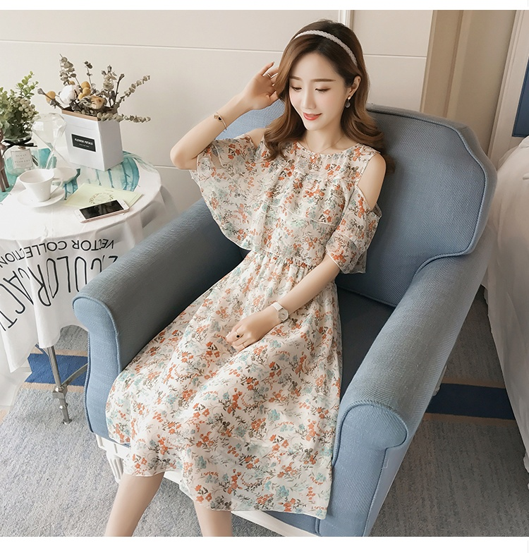 Pregnant Nursing Dress Off Shoulder print Maternity Breastfeeding Dresses For Photo Shoot Chiffon Maternity Dress Party Clothes 81
