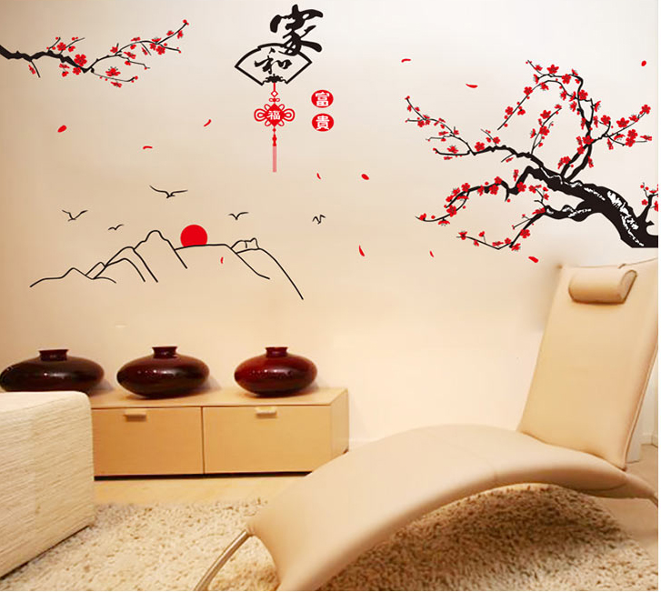 2017 New Arrival Chinese Style Classical Room House Glass Christmas Decoration Chinese New Year Wall Sticker