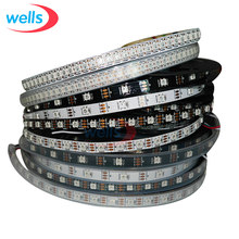 DC5V WS2812B 1 M/4 M/5 M 30/60/74/96/144 Piksel /LED/M Smart LED Pixel Strip hitam/Putih PCB, WS2812 IC; WS2812B/M, IP30/IP65/IP67(China)