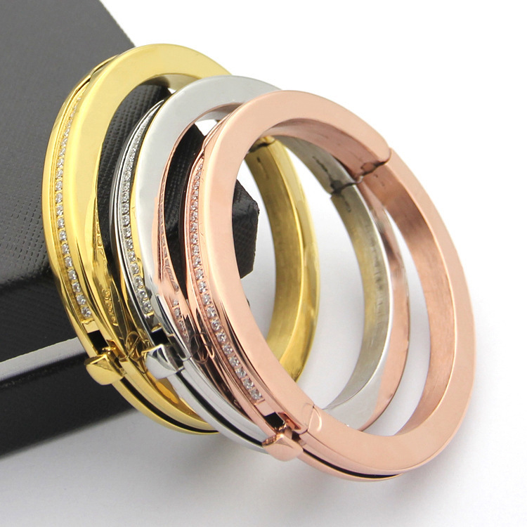 High Quality Brand Jewelry Titanium Steel Gold Bracelet Bracelet Exquisite Plating Wedding Jewelry Rose Gold Silver Gold