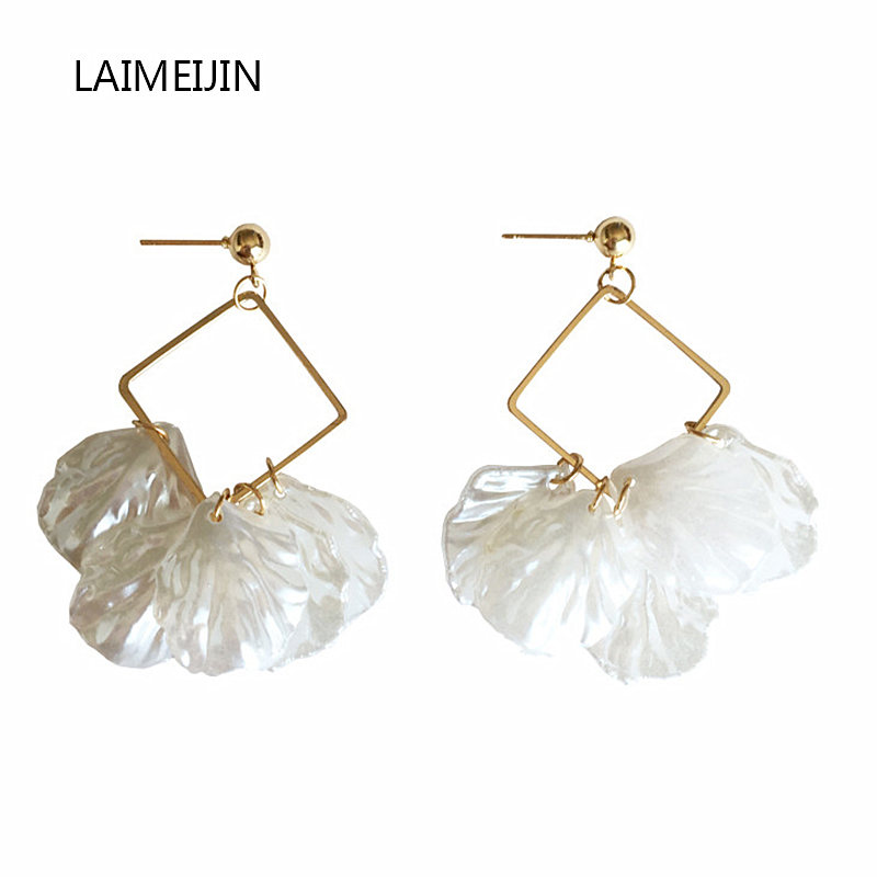 Geometric square shell petals long earrings eardrop Popular pendientes fashion brincos women birthday gifts Simplicity earrings