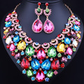 Gold Plated Water Drop Crystal Rhinestones Wedding Jewelry Sets African Jewelry Sets Statement Necklace Earrings