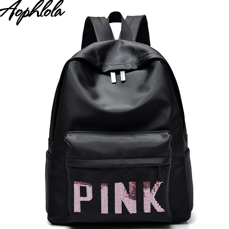 Womens Pink School Bag Backpack for Teenagers Girls Sequins Travel Backpack Soft Fashion ...