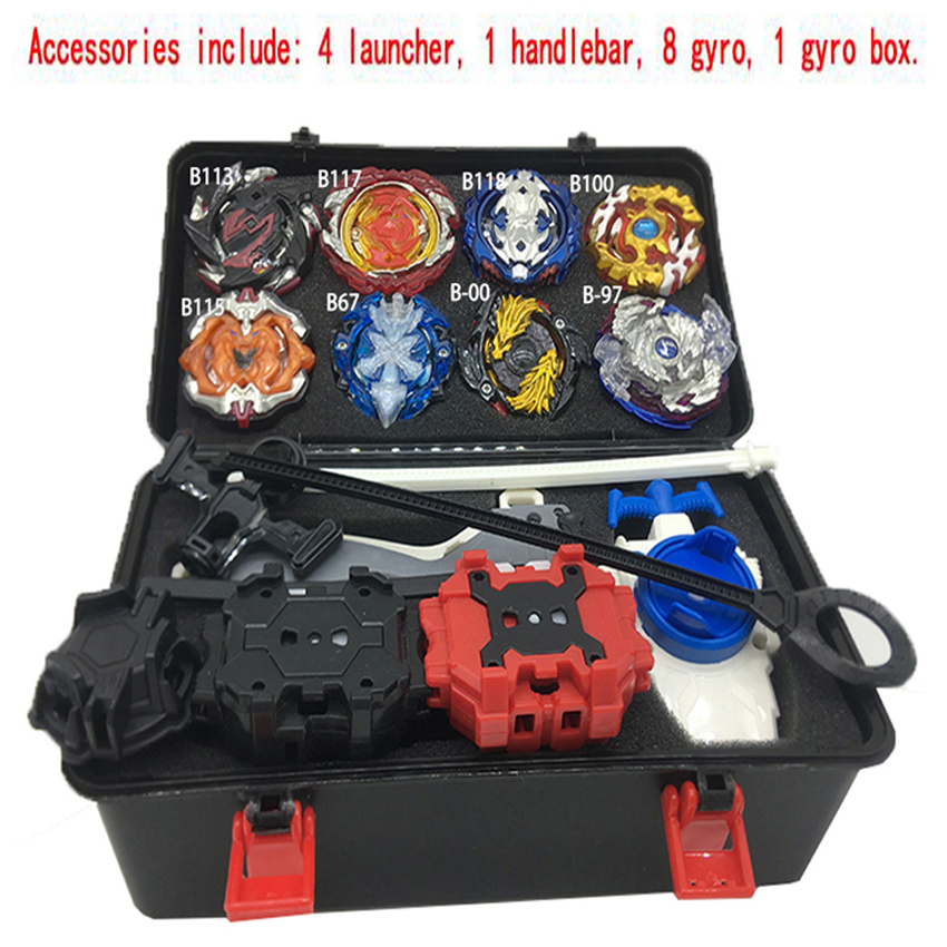 1set 8 style Beyblade Burst  B113 B117 Metal Fusion 4D With Beyblade 4 Launcher Burst Spinning Top Christmas Gift For Kids Toys