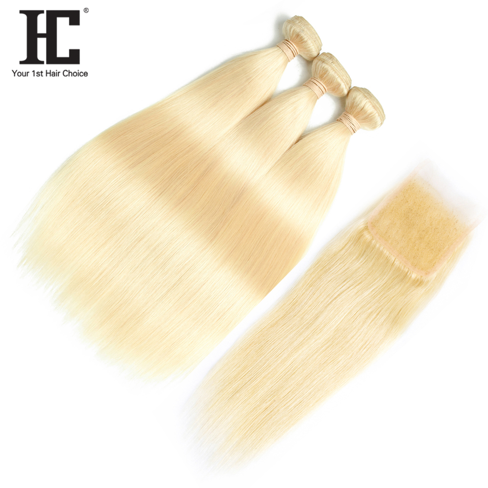 HC Brazilian Hair Weave 3 Bundles 613 Color Straight Hair With Closure NonRemy Human Hair Extension Free Part Closure PrePlucked-in 3/4 Bundles with Closure from Hair Extensions & Wigs    1