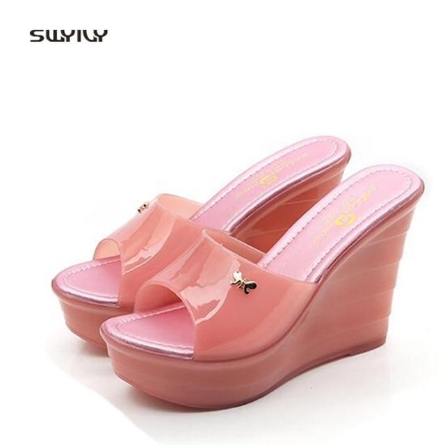 3e733f565373 SWYIVY Women s Sandals PVC Plastick Jelly Shoes Summer 2018 Female Sandals  Platform Wedge Lady PVC Casual