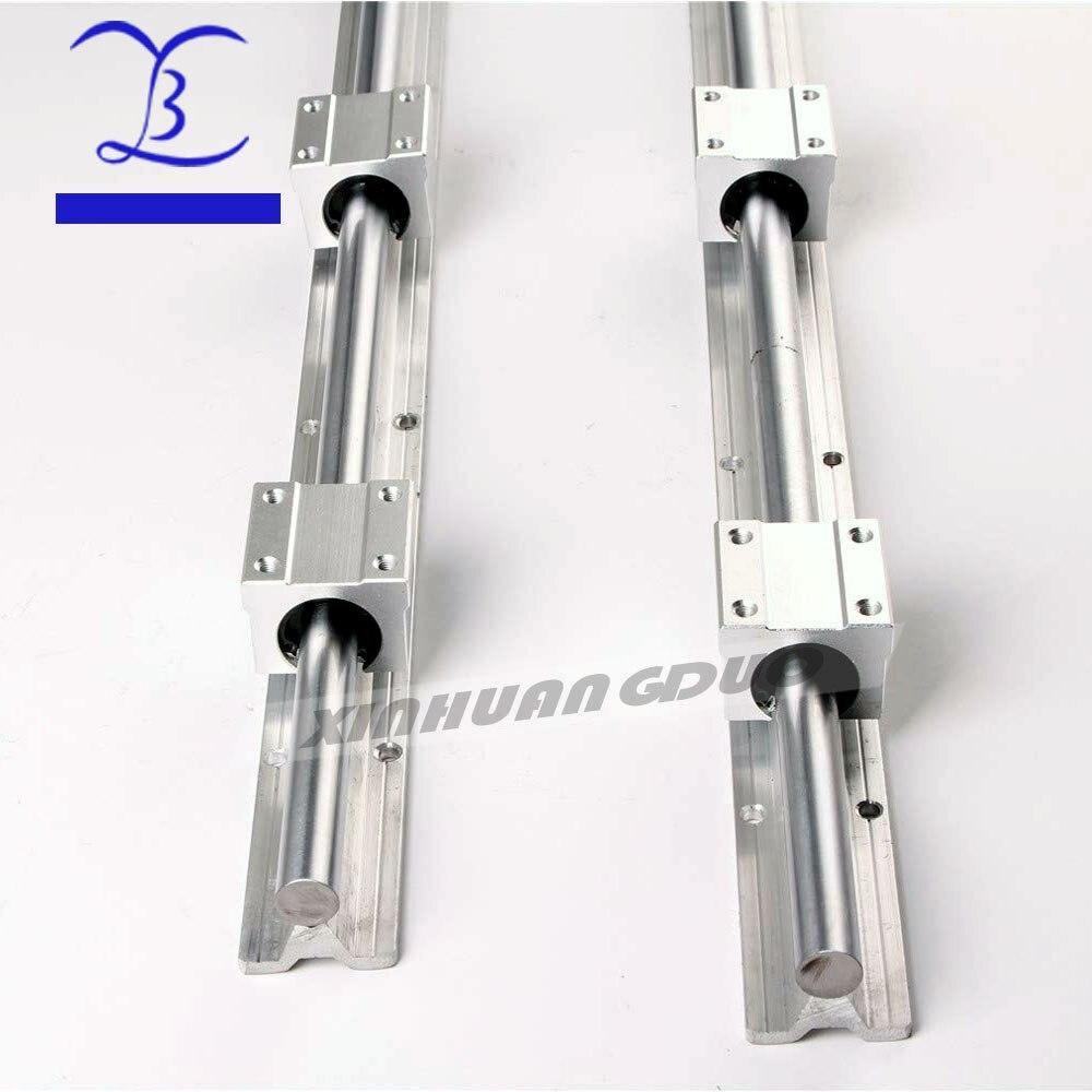2 pièces SBR16 16mm rail linéaire n'importe quelle longueur support rond rail de guidage + 4 pièces SBR16UU bloc coulissant pour CNC