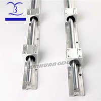 2pcs SBR16 16mm linear rail any length support round guide rail + 4pcs SBR16UU slide block for cnc