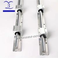 2pcs SBR16 16mm linear rail any length support round guide rail + 4pcs SBR16UU slide block for cnc