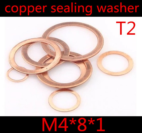 M5 Copper Crush Washer 5mm ID by 9mm OD by 1mm thick packet of 6 solid copper