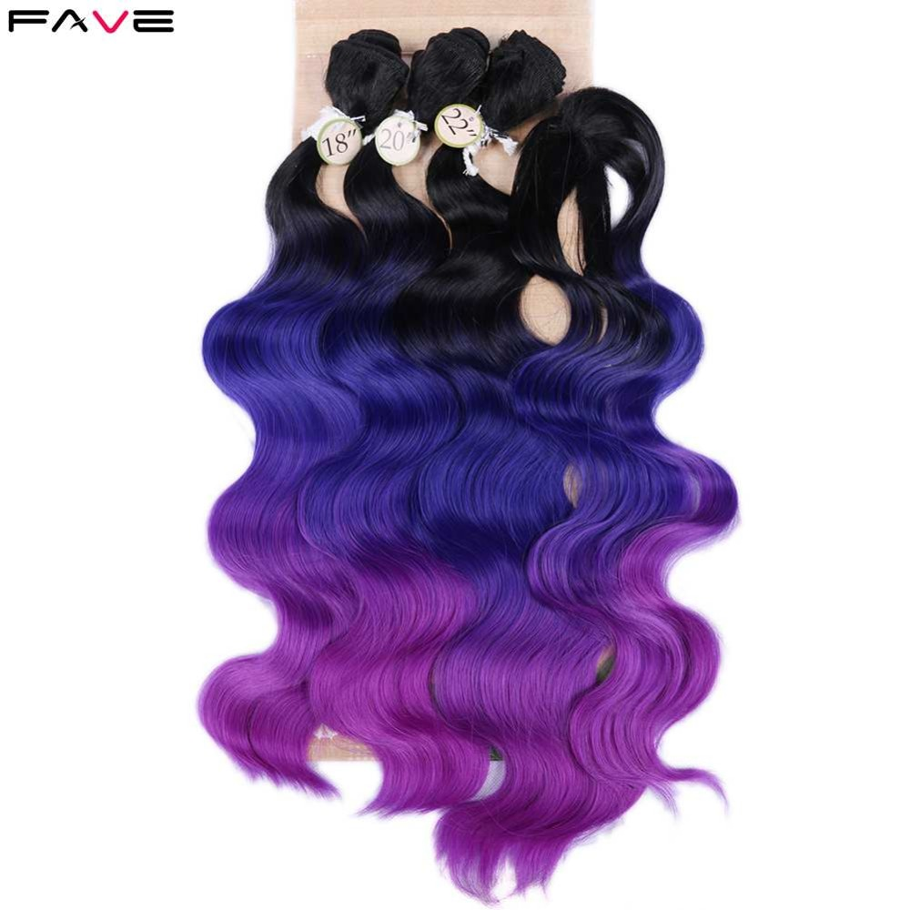 FAVE Brazilian Hair Body Wave 3 Bundles With Closure Synthetic Hair 4Pcs Lot Black Green/Blonde/Grey For Black White Women