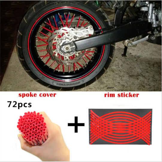 Motocross Dirt Bike Enduro Wheel RIM SPOKE Shrouds SKINS COVERS & Sticker Reflective Rim Stripe Tape For HONDA YAMAHA KAWASAKI