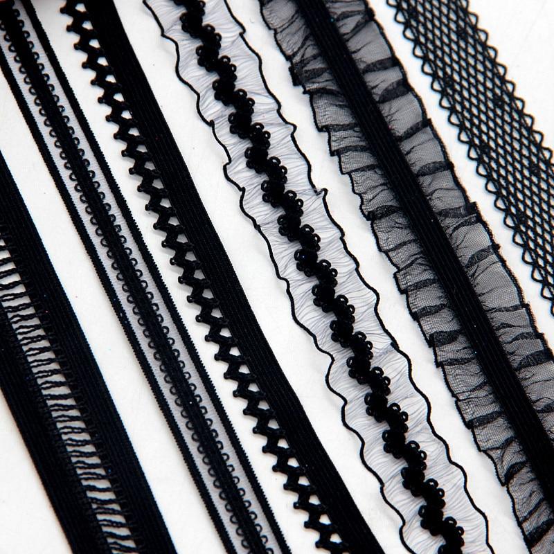 12/15/16/20mm Black Lace Elastic Band Edge Waistband Rubber Hair Elastic Bands Nylon Webbing DIY Pants Bra Accessories Sewing 2m