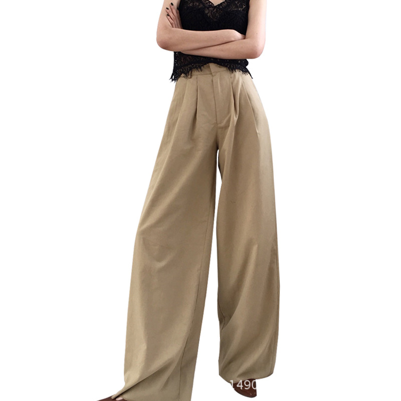 Cakucool Hot Women Extra Long   Capris   Spring Wide Leg   Pant   Loose Casual Empire Fashion Trailing Trousers   Pants   Femme Black White