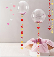 ONE TO FOUR New Balloon Hanging String Flag I Love You Wedding Decoration Gold Silver Red Pink