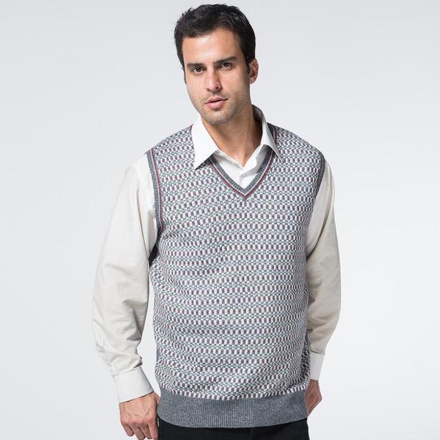 Chaleco del suéter de punto para hombres jersey de lana suéteres ...