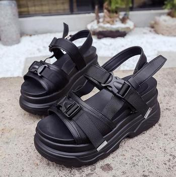 Black And White Wedge Sandals | Casual Solid Color Black White 2019 Summer Women Sandals Wedges Women's Shoes Platform High Heels Student Girl Sandals 35--39