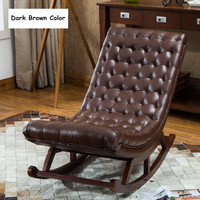 Modern Design Rocking Lounge Chair For Living Room Bedroom Furniture Rocker Chair W/Leather Cushion Wood Comfortable Relax Chair