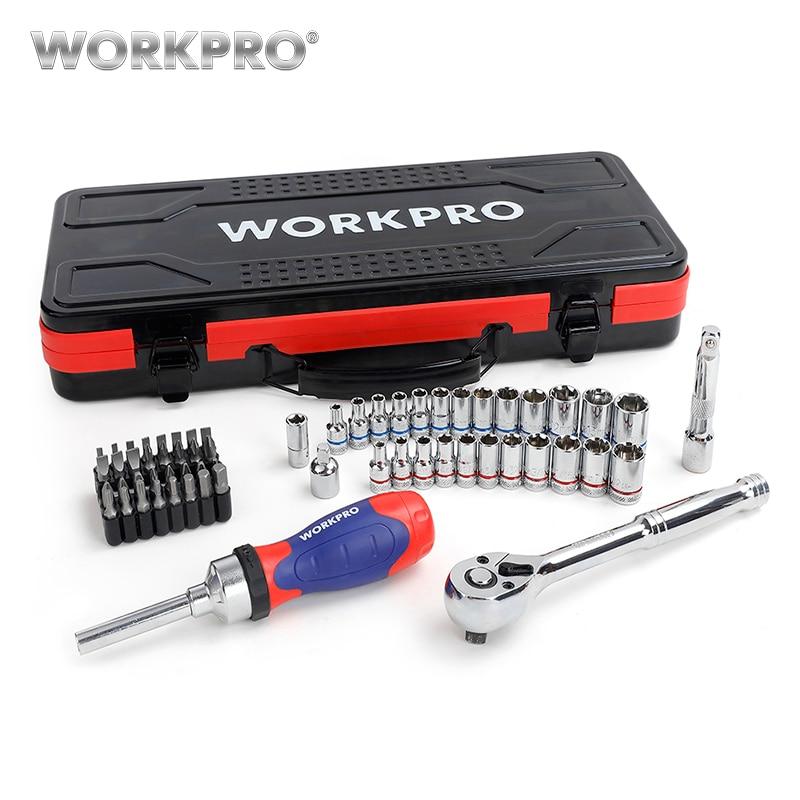 Workpro 62 pc caixa de metal conjunto de ferramentas de reparo do carro kits ferramentas em casa 1/4