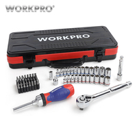 WORKPRO 62PC Metal Box Tool Set Car Repair Tool Kits Home Tools 1/4 3/8 Dr. Sokcet Set Ratchet Torque Wrench