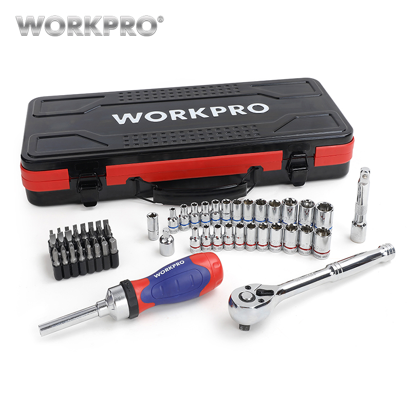 WORKPRO 62PC Tool Set Hand Tools Home Tool Set Repair Tools 1/4 3/8 Dr. Sokcet Ratchet Torque Wrench Metal Box
