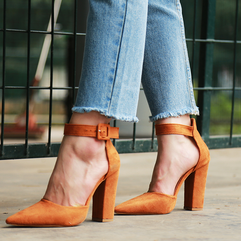2018 Sexy Classic High Heels Women's Sandals Summer Shoes Ladies Strappy Pumps Platform Heels Woman Ankle Strap Shoes 34