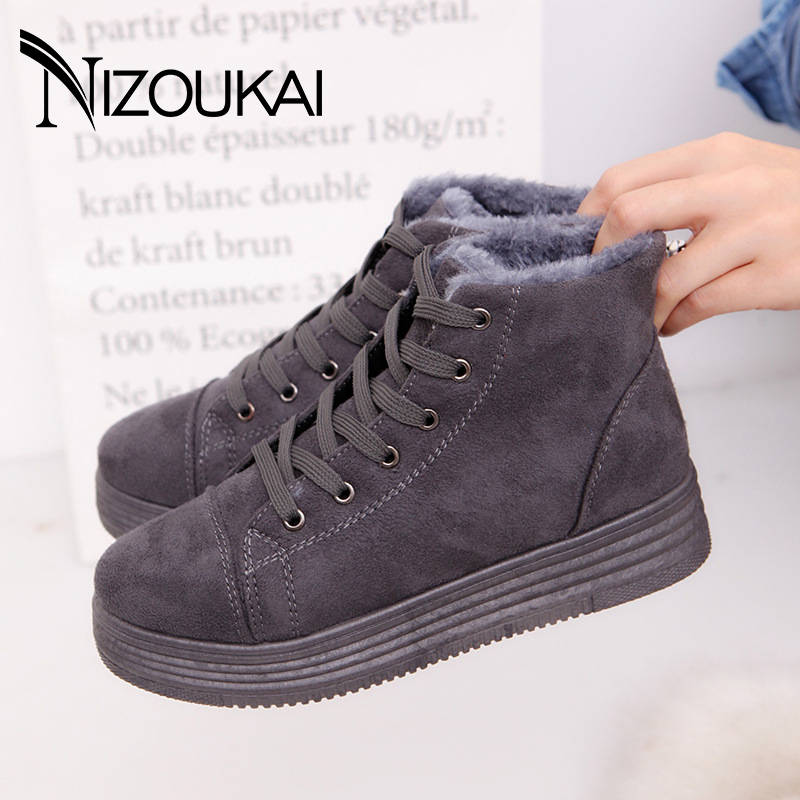 Classic Women Winter Boots Suede Ankle Snow Boots Female Warm Plush Insole High Quality Ankle Boots For Women Mujer Lace-Up 2017 new fashion women winter boots classic suede ankle snow boots female warm fur plush insole high quality botas mujer lace up