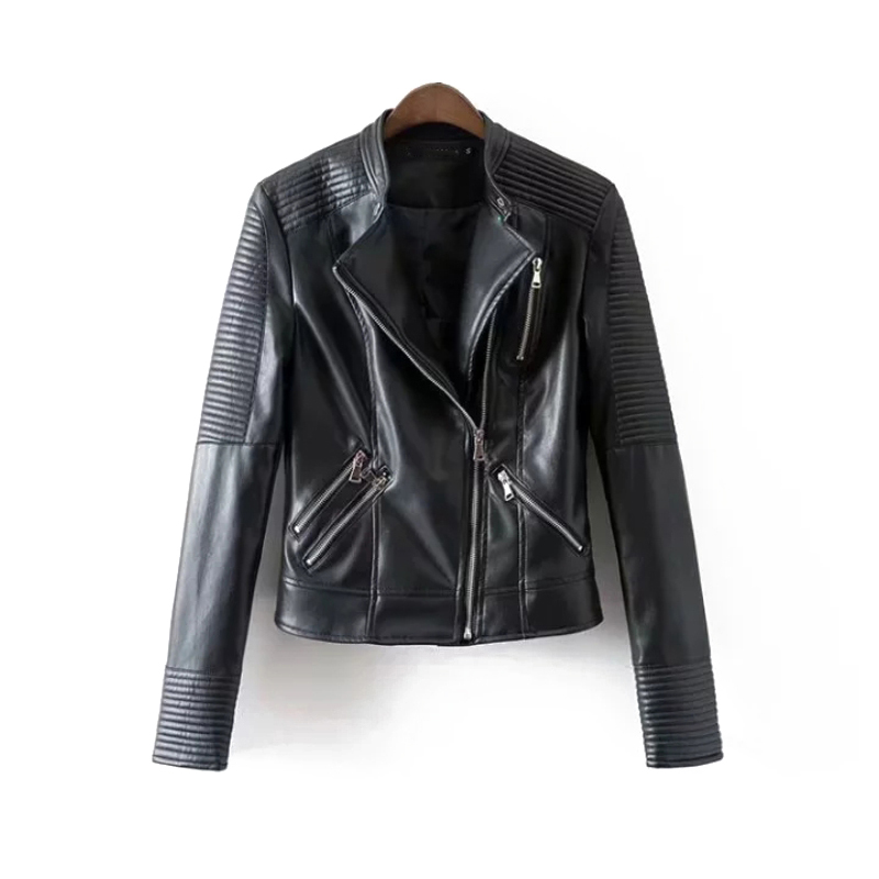 Black Women Faux   Leather   Jackets 2019 Spring-Autumn Chic Moto-biker Coats Ladies Slim Street Wear Outerwear Girls Wild Outfits