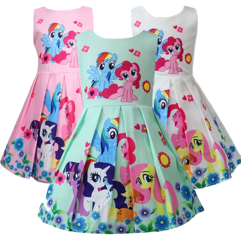 2019 New Spring and Summer My Princess Girl Print Dress Rainbow Pony Birthday Party Vestidos Dress Baby Child Flower Apparel(China)