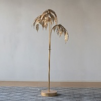 180cm Metal Palm Tree Floor Lamp with Golden Finish / 3 Light Gold Tree