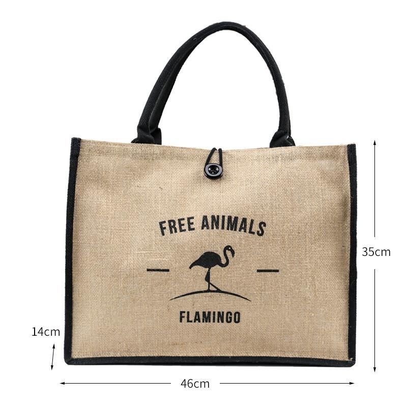 New Summer Flamingo Owl Natural Linen Tote Large Capacity Female Casual Shoulder Bag Handbag For Women Fresh Beach Shopping Bag
