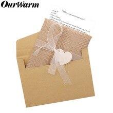 Rustic Wedding Envelope Invitations Greeting-Cards Vintage Postcard Ribbon Ourwarm