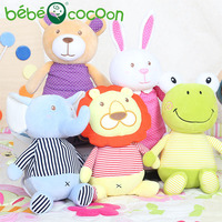 bebecocoon 25cm Kawaii Rabbit Elephant Bear Animals Stuffed Plush Rattle Toddler Educational Musical Kids Baby Toys for Children