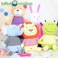 bebecocoon 25cm Kawaii Rabbit Elephant Bear Animals Stuffed Plush Rattle Toddler Educational Musical Kids Baby Toys for Children