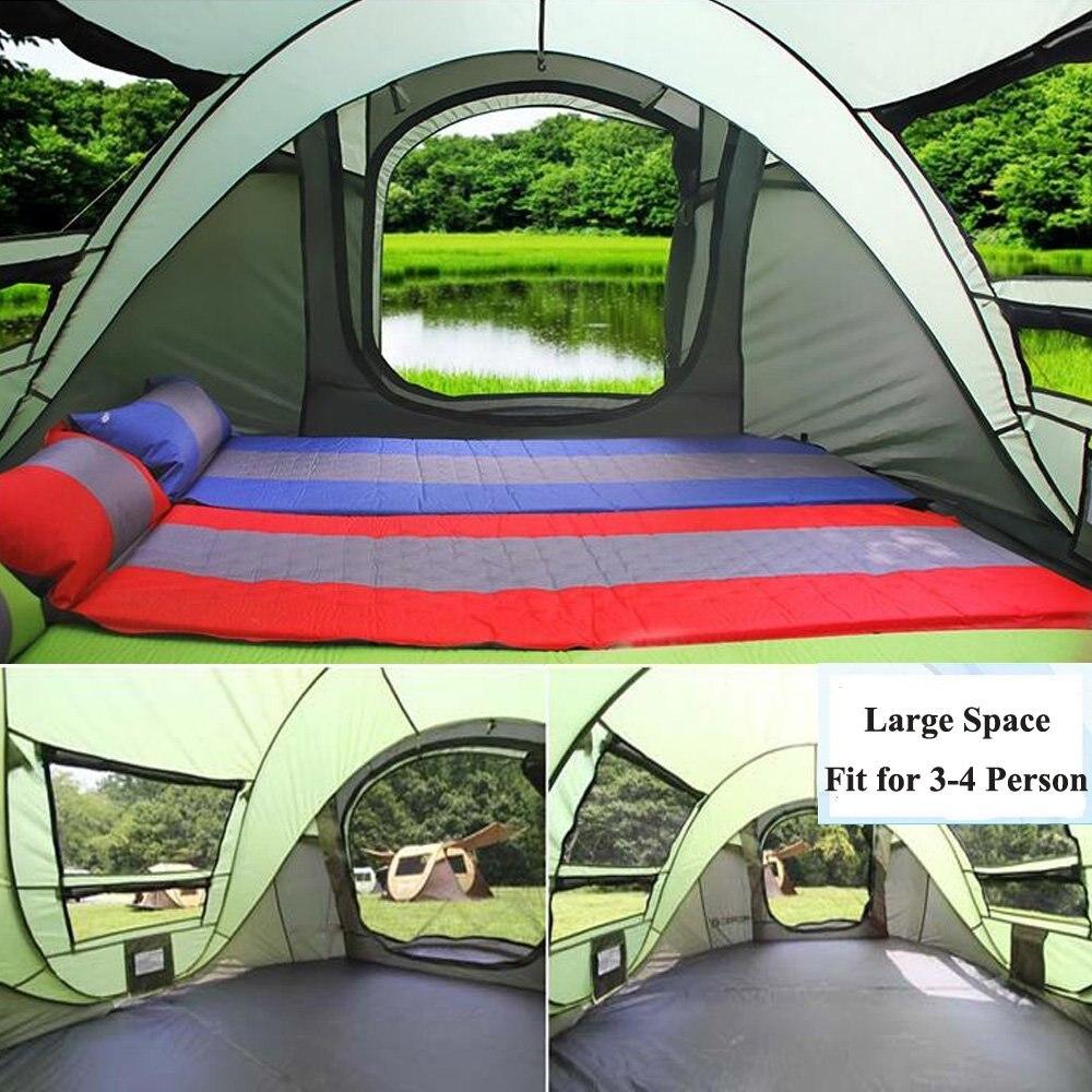 Tente pop up 3-4 personnes tente de plage double couche Anti UV imperméable ultra-léger tente tourisme randonnée famille tentes camping en plein air - 4