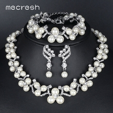 hot deal buy mecresh 3 pcs/sets simulated pearl bridal jewelry sets 2017 new wedding necklace earrings bracelets sets for women mtl472+msl246