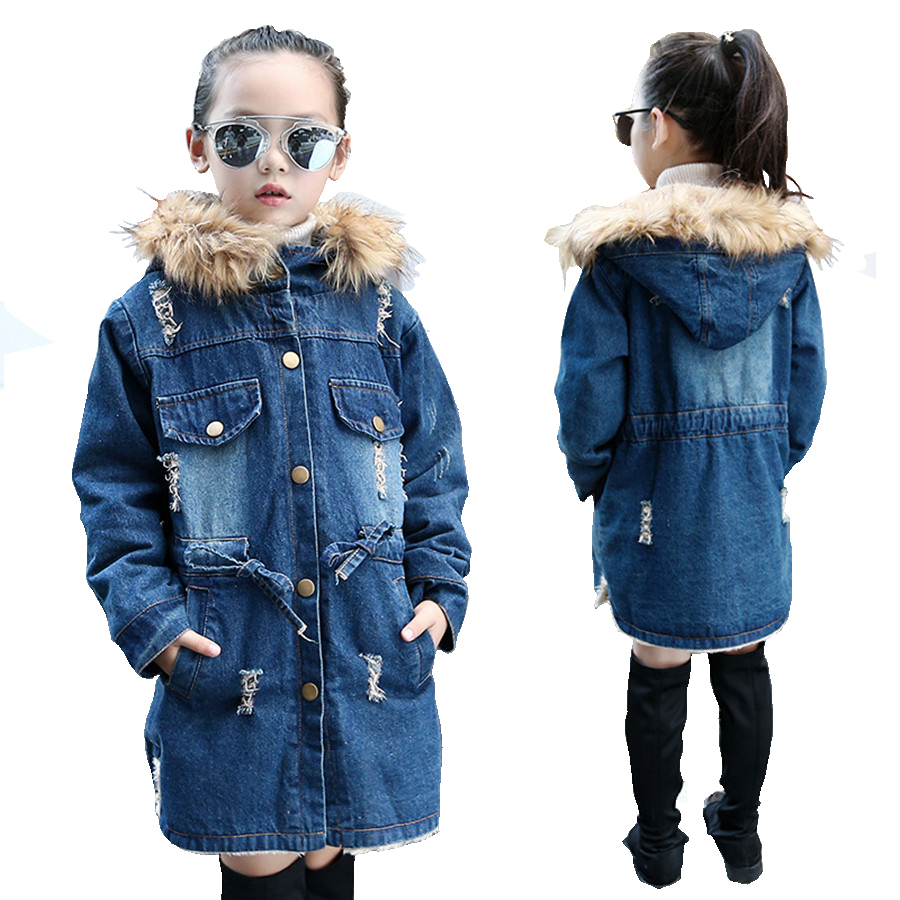 6-12Y Girls Winter Jacket Denim European Girls Jeans Jacket Hole Hooded Children Trench Coat Cashmere Fur Collar fur Coat denim self tie waist long sleeves hooded trench coat