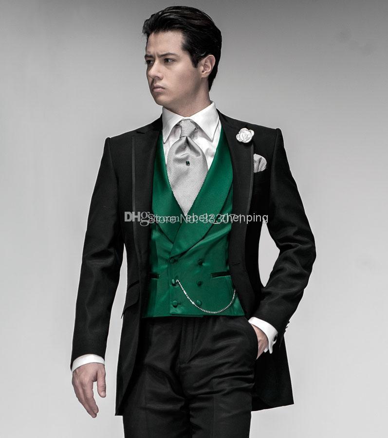 35c5f0f8628ea Personnalisé sur mesure Smokings de Marié Noir Costume Vert Gilet Revers  Cran Meilleur homme Groomsman Hommes De Mariage Partie Robe (Veste +  pantalon + ...