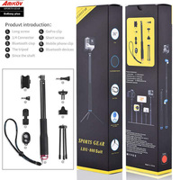 Sport Camera Accessories Set Aluminum Extendable Pole Stick Tripod Bluethooth Devices For Go Pro Hero 5