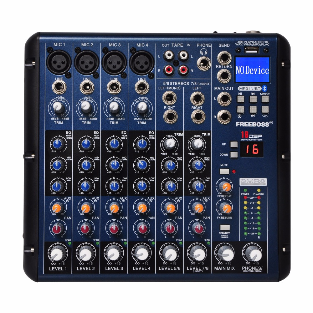 Freeboss SMR8 Bluetooth USB Rekord 8 Kanäle (4 Mono + 2 Stereo) 16 DSP Kirche Schule Karaoke Party USB DJ Mixer