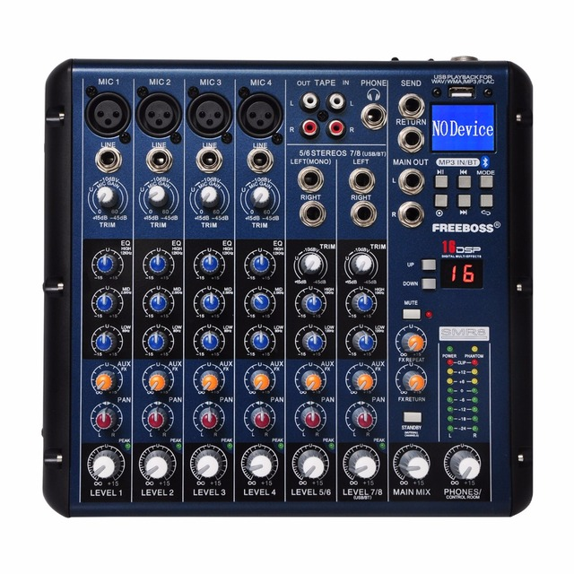 Freeboss SMR8 Bluetooth USB kayıt 8 kanal (4 Mono + 2 Stereo) 16 DSP kilise okul Karaoke parti USB DJ mikseri