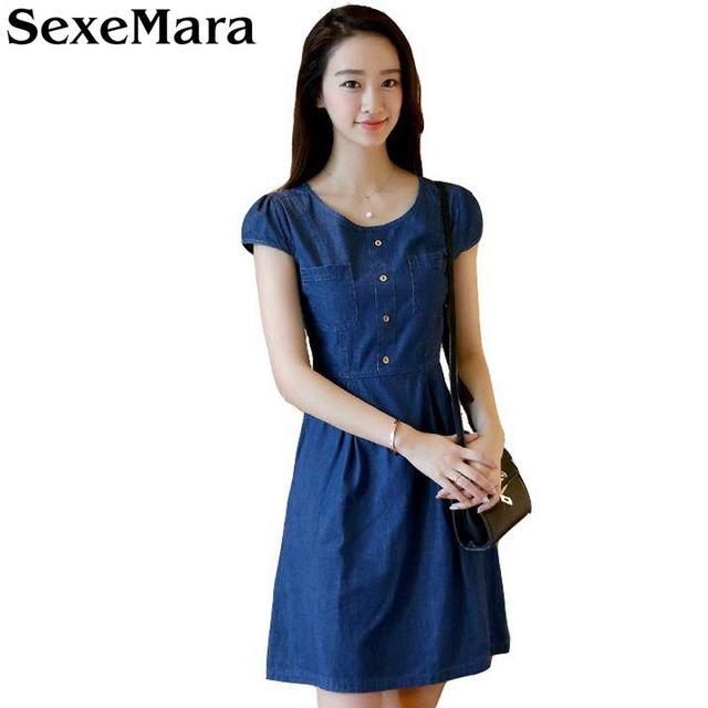 fe878244ede SexeMara-Look-Plus-Mince-Taille-Denim-Dress-Mode-Manches-Courtes-Jean-Robes -O-cou-Printemps-t.jpg 640x640.jpg