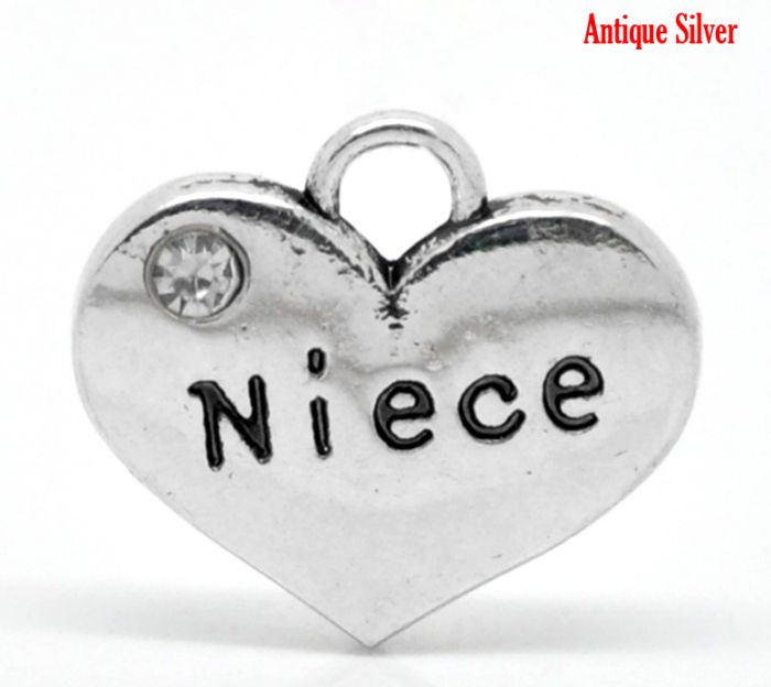 DoreenBeads 20PCs Antique Silver Color Rhinestone Gift For Boys Your Niece Heart Charm Pendants 16mmx14mm(5/8x 4/8) ...