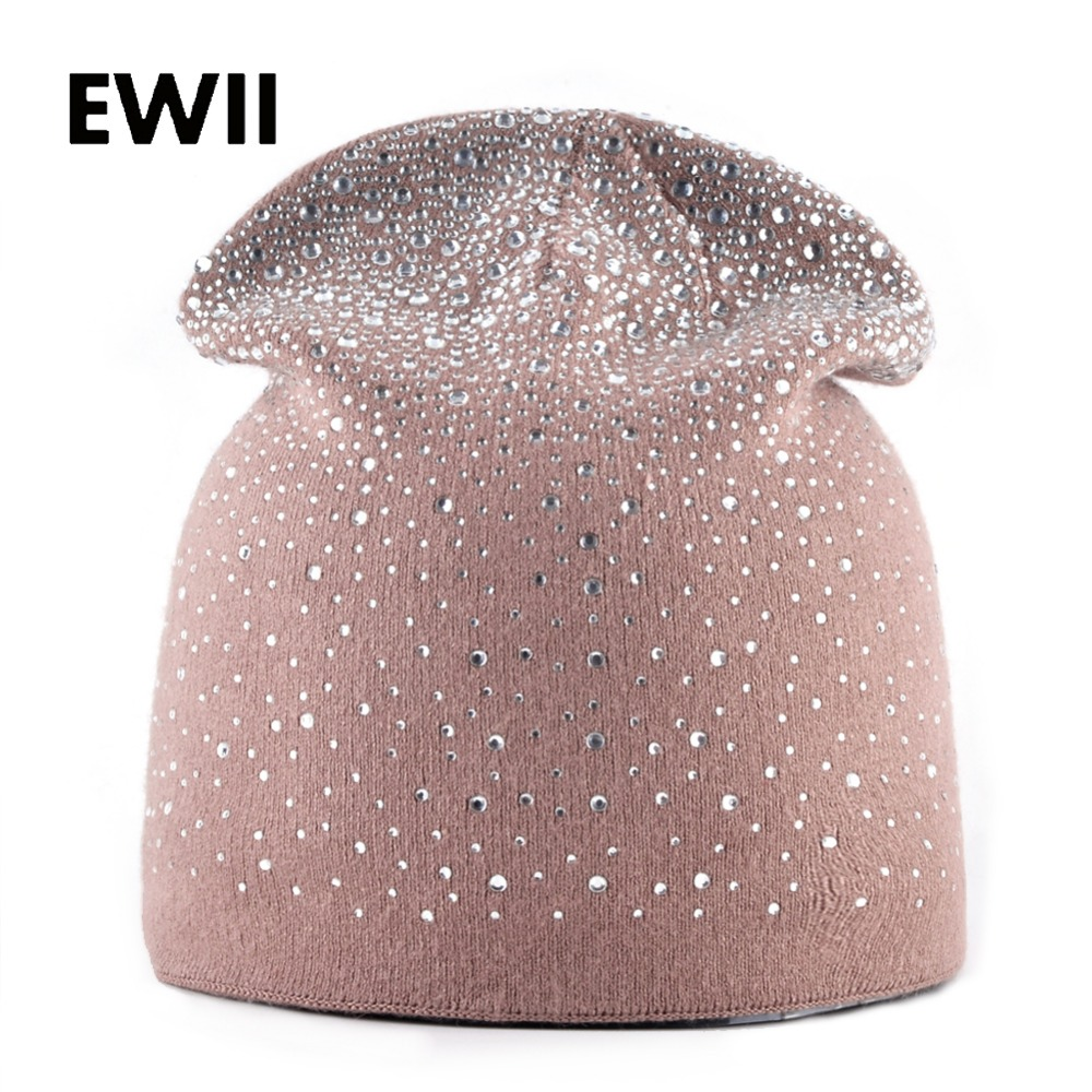 Autumn And Winter rabbit knitted wool hats for women rhinestone beanie cap skullies ladies casual beanies caps women warm hat
