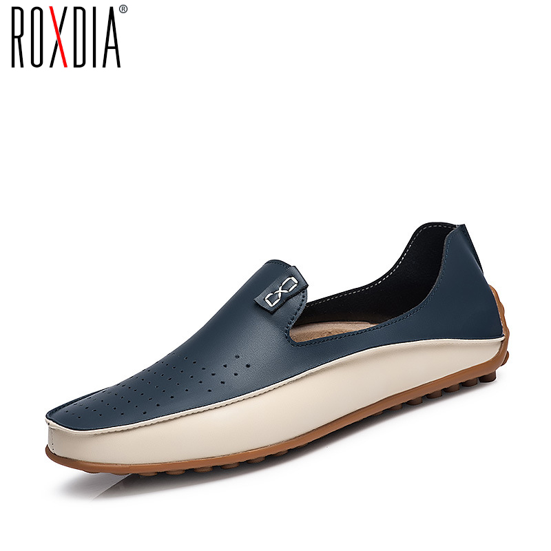 ROXDIA Genuine Leather Men Loafers Spring Summer Causal Shoes Moccasins Men Driving Shoes Man Flats Plus Size 39-47 RXM010 summer causal shoes men loafers genuine leather moccasins men driving shoes high quality flats for man