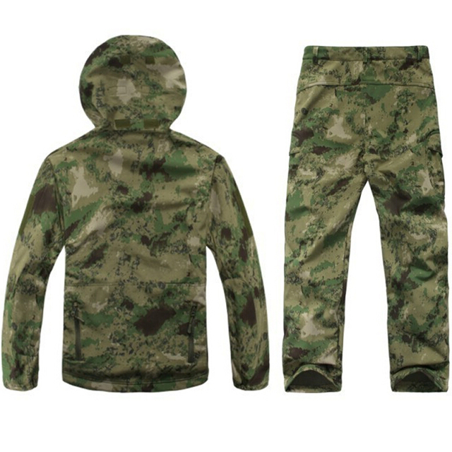 TAD Gear Tactical Softshell Camouflage Jacket Set Men Army Windbreaker Waterproof Hunting Clothes Camo Military Jacket andPants 2