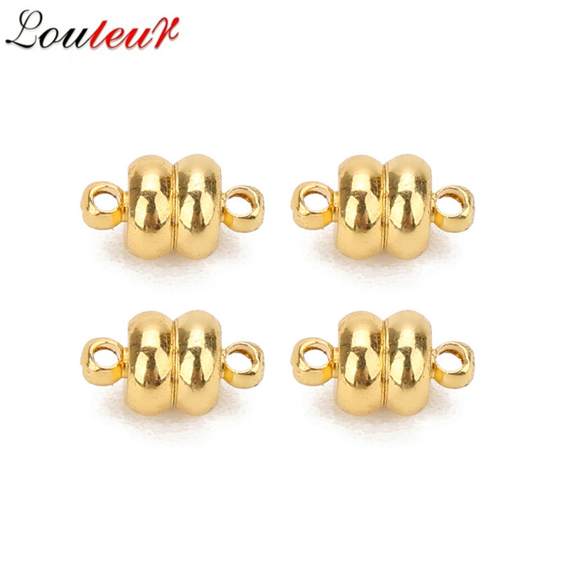 LOULEUR 10pcs lot Round Copper Strong Magnetic Clasps For 7mm Leather Cord Bracelets Connectors for DIY Jewelry Making in Jewelry Findings Components from Jewelry Accessories