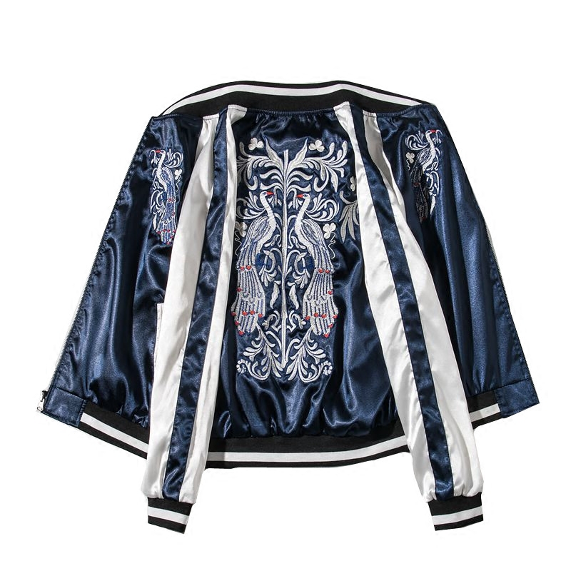 LYZOUS Casual Peacock Embroidery Bomber Jacket Chic Stand Collar Contrast Colors Basic Jackets Spring Autumn Unisex Jacket Tops